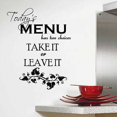 DecaltheWalls Today's Menu Kitchen Wall Decal; Black