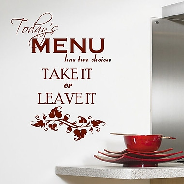 DecaltheWalls Today's Menu Kitchen Wall Decal; Brown