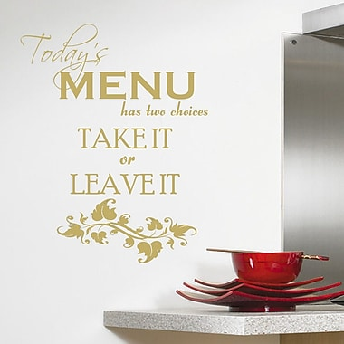 DecaltheWalls Today's Menu Kitchen Wall Decal; Gold