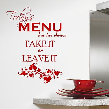 DecaltheWalls Today's Menu Kitchen Wall Decal; Red