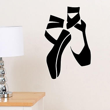 DecaltheWalls Ballerina Slippers Wall Decal; Black
