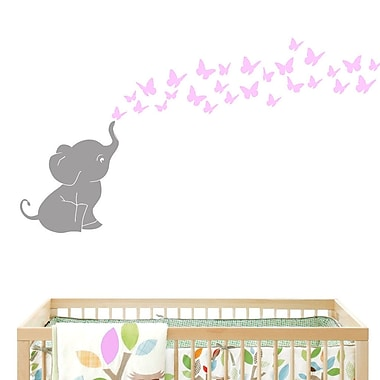DecaltheWalls Elephant w/ Butterflies Wall Decal; Gray/Pink