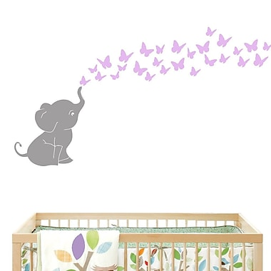 DecaltheWalls Elephant w/ Butterflies Wall Decal; Gray/Lilac