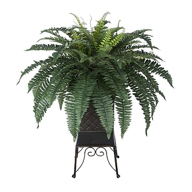 House of Silk Flowers Artificial Fern Floor Plant in Planter; Brown