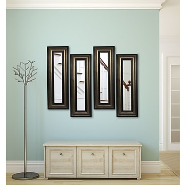 Rayne Mirrors Molly Dawn Stepped Antiqued Mirror Panels (Set of 4); 29'' H x 13'' W x 0.75'' D