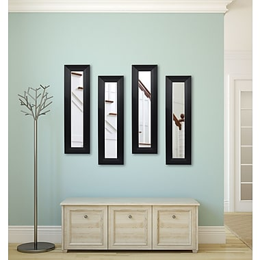 Rayne Mirrors Molly Dawn Solid Black Angle Mirror Panels (Set of 4); 39.5'' H 15.5'' W x 0.75'' D