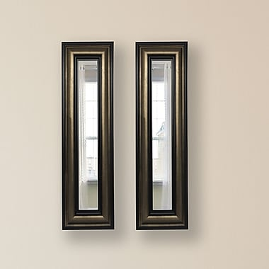 Rayne Mirrors Molly Dawn Stepped Antiqued Mirror Panels (Set of 2); 33'' H x 19'' W x 0.75'' D