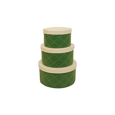 WaldImports 3 Piece Green Round Stacking Box Set; Green