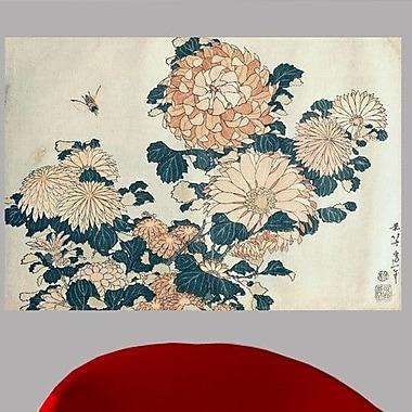 Wallhogs Hokusai Chrysanthemums Poster Wall Mural; 33'' H x 48'' W
