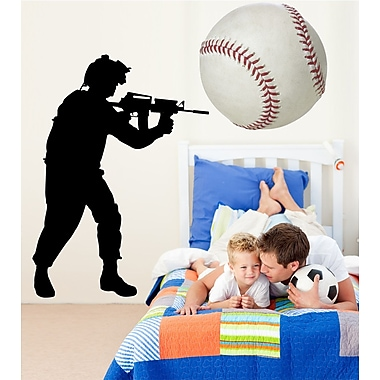 Wallhogs Haynes Military Soldier V Silhouette Cutout Wall Decal; 48'' H x 28'' W