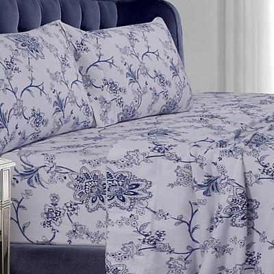 Tribeca Living Floral Flannel Sheet Set; Queen