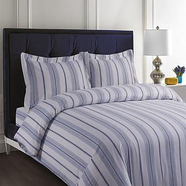 Tribeca Living Flannel Cotton Stripe Duvet Set; Queen