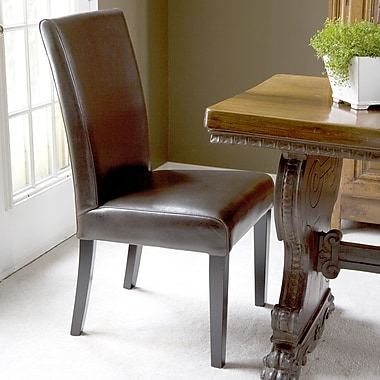HD Couture Petra Straightback Genuine Leather Upholstered Dining Chair (Set of 2); Brown