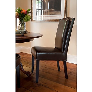 HD Couture Cambria Pillowback Genuine Leather Upholstered Dining Chair (Set of 2); Brown