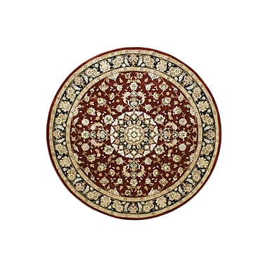 American Home Rug Co. Hand-Tufted Burgundy/Red Area Rug; Round 5'6''