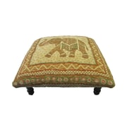Corona Decor Vintage Elephant Footstool; Green/ Gold