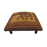 Corona Decor Vintage Elephant Footstool; Green/ Red