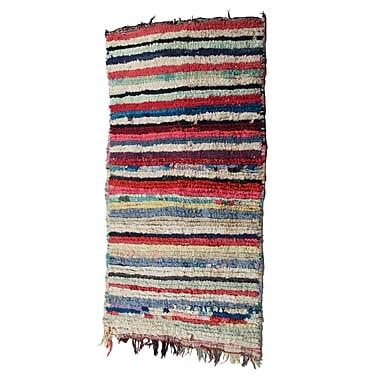 Casablanca Market Boucherouite Azilal Hand-Woven Ivory/Red Area Rug