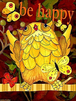 Caroline's Treasures Happy Happy Day Owl Vertical Flag