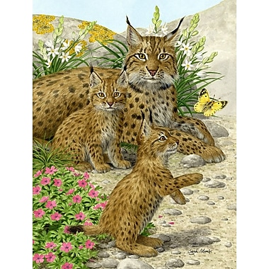 Caroline's Treasures Lynx And Cubs Vertical Flag