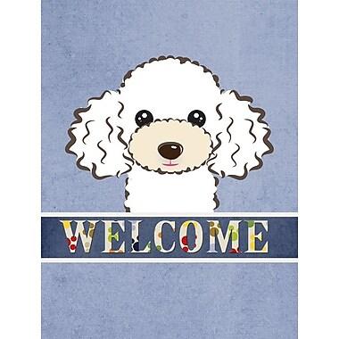 Caroline's Treasures Poodle Welcome 2-Sided Garden Flag; White