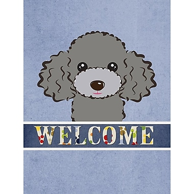 Caroline's Treasures Poodle Welcome 2-Sided Garden Flag; Silver Gray
