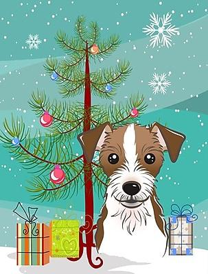 Caroline's Treasures Under The Christmas Tree Jack Russell Terrier Vertical Flag