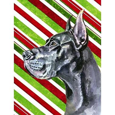 Caroline's Treasures Black Great Dane Candy Cane Holiday Christmas 2-Sided Garden Flag
