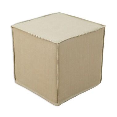 Brite Ideas Living Circa Solid Seamed Cube Ottoman; Barley