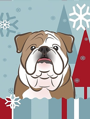 Caroline's Treasures Winter Holiday 2-Sided Garden Flag; Bulldog (White / Brown)