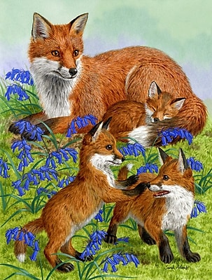 Caroline's Treasures Fox Family Vertical Flag