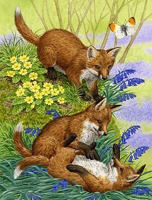 Caroline's Treasures Fox Cubs Vertical Flag