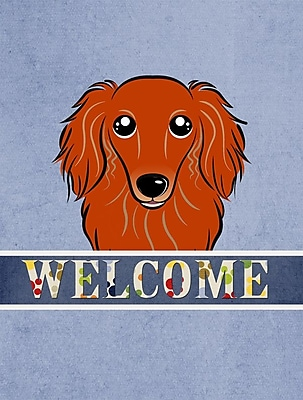Caroline's Treasures Welcome Longhair Red Dachshund Vertical Flag