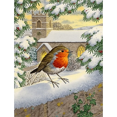 Caroline's Treasures European Robin Waiting 2-Sided Garden Flag