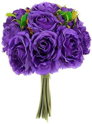 AdmiredbyNature 11 Stems Artificial Rose Bouquet; Purple