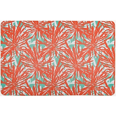 Island Girl Home Tropical Palm Springs Doormat; Coral red/Aqua/White