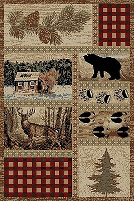 Mayberry Rug American Destinations Beige/Red Area Rug; Rectangle 2' x 3'