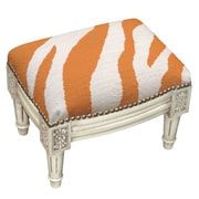123 Creations Zebra Stripe Wool Needlepoint Upholstered Footstool; Orange