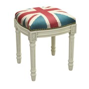 123 Creations Britannia Linen Upholstered Vanity Stool w/ Nailhead; Antique White