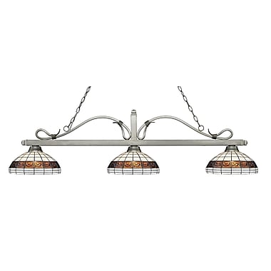 Z-Lite – Luminaire suspendu Melrose pour îlot/table de billard 114-3AS-F14-1, 3 amp., Tiffany multicolore