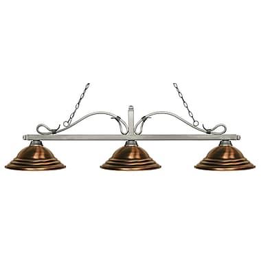 Z-Lite – Luminaire suspendu Melrose pour îlot/table de billard 114-3AS-SAC, 3 amp., cuivre antique à relief