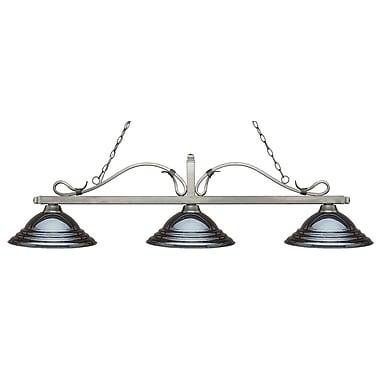Z-Lite – Luminaire suspendu Melrose pour îlot/table de billard 114-3AS-SGM, 3 amp., gris métallique à relief