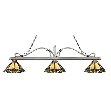 Z-Lite – Luminaire suspendu Melrose pour îlot/table de billard 114-3AS-Z14-37, 3 amp., Tiffany multicolore