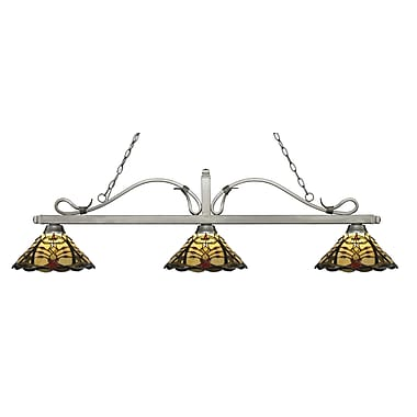 Z-Lite – Luminaire suspendu Melrose pour îlot/table de billard 114-3AS-Z14-46, 3 amp., Tiffany multicolore