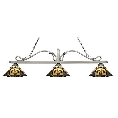 Z-Lite – Luminaire suspendu Melrose pour îlot/table de billard 114-3AS-Z14-46, 3 amp., Tiffany multicolore