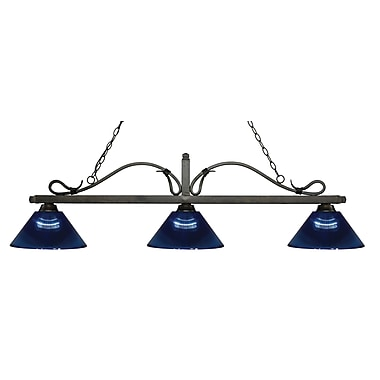 Z-Lite – Luminaire suspendu Melrose pour îlot/table de billard 114-3GB-ARDB, 3 amp., bleu foncé