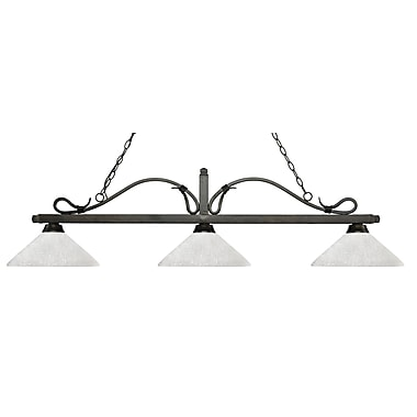 Z-Lite – Luminaire suspendu Melrose pour îlot/table de billard 114-3GB-AWL14, 3 amp., lin blanc