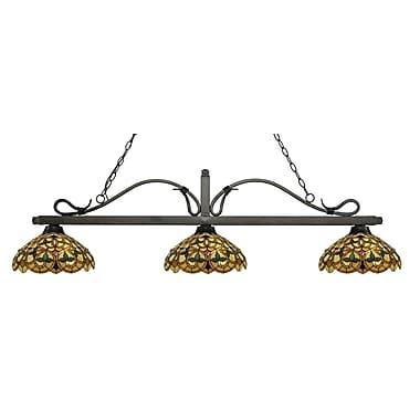 Z-Lite – Luminaire suspendu Melrose pour îlot/table de billard 114-3GB-C14, 3 amp., Tiffany multicolore
