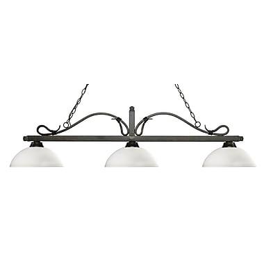 Z-Lite – Luminaire suspendu Melrose pour îlot/table de billard 114-3GB-DMO14, 3 amp., dôme, opale mat