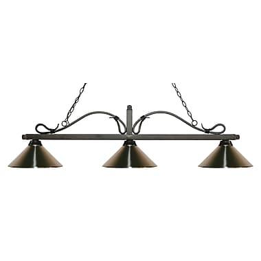 Z-Lite – Luminaire suspendu Melrose pour îlot/table de billard 114-3GB-MBN, 3 amp., nickel brossé